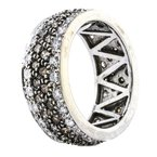 Estate Jewelry 14K White Gold Fancy Brown and White Diamond Wide Argyle Band
