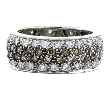 14K White Gold Fancy Brown and White Diamond Wide Argyle Band