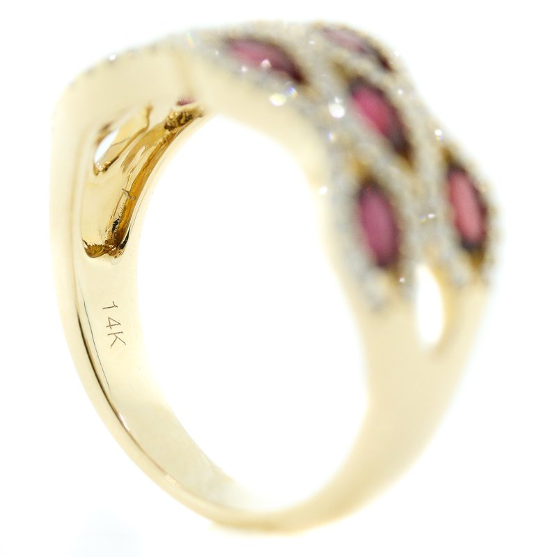 Iroff and Son Jewelers  14K Yellow Gold Wide Honeycomb Ruby and Diamond Band SZ 7