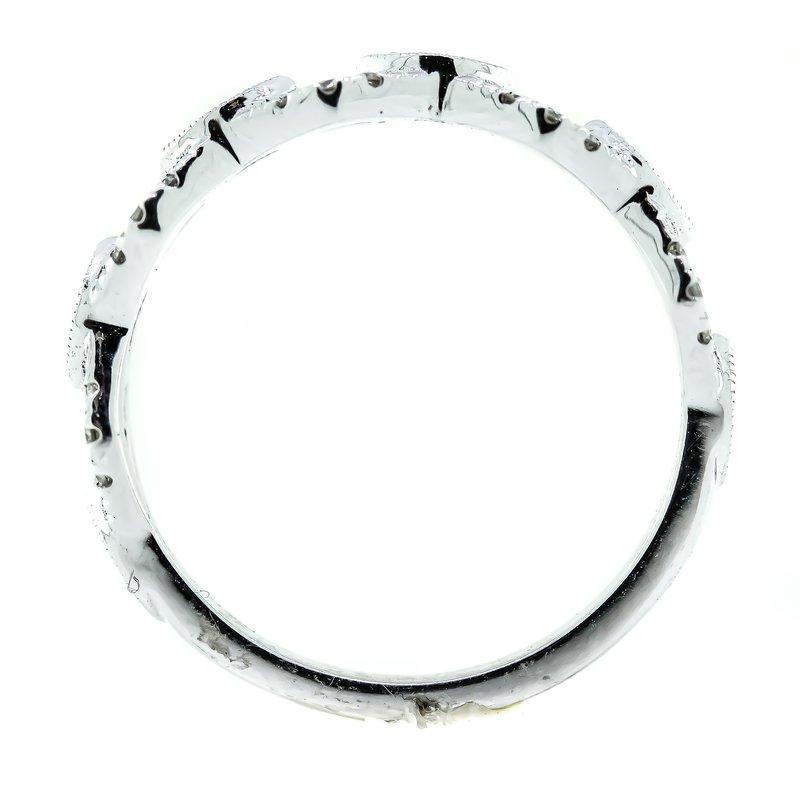 Iroff and Son Jewelers  14K White Gold Buckle Link Milgrain Diamond Band SZ 6.5