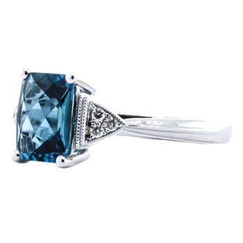 14K White Gold Emerald Cut London Blue Topaz and Diamond Ring