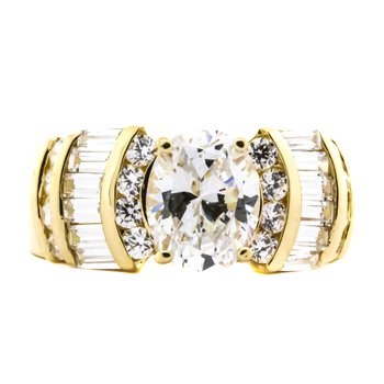 14K Gold Oval CZ Baguette and Round Accent Engagement Ring