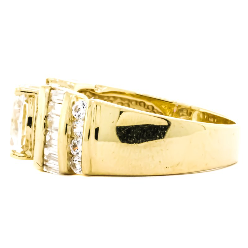 Estate Jewelry 14K Gold Oval CZ Baguette and Round Accent Engagement Ring