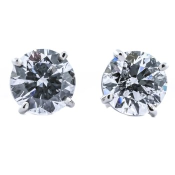 14K White Gold Diamond Stud Earrings 3.02CTW