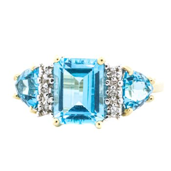 10K Gold Blue Topaz and Diamond Accent Three Stone Ring