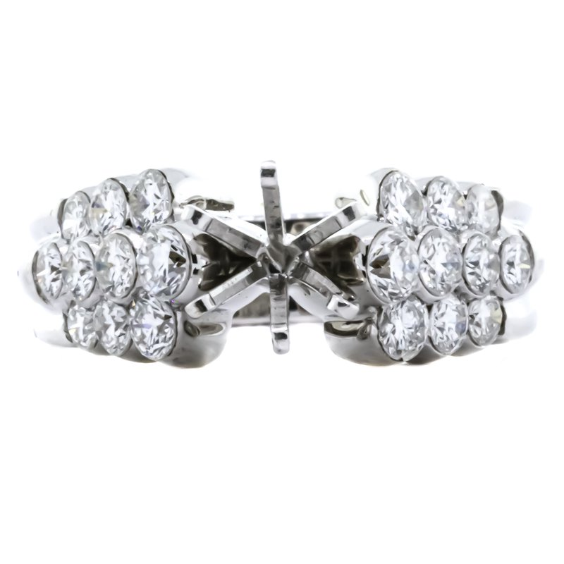 18K White Gold 3 Row Cluster Side Diamond Semi Mounting
