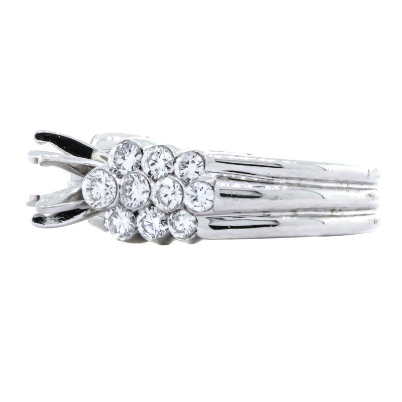 18K White Gold 3 Row Cluster Side Diamond Semi Mounting