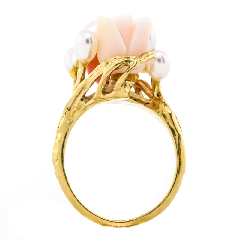 Estate Jewelry 14K Gold Angel Pink Coral Pearl Cluster Floral Rose Ring