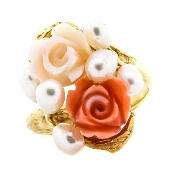 14K Gold Angel Pink Coral Pearl Cluster Floral Rose Ring