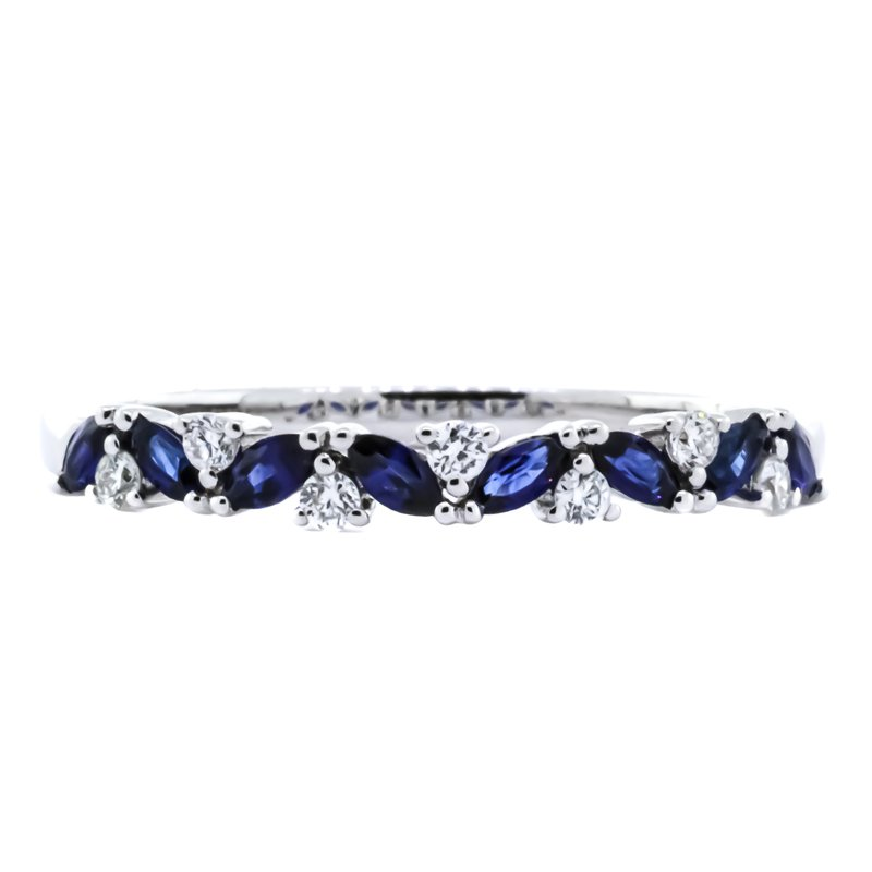 Iroff and Son Jewelers  14K White Gold Marquise Sapphire and Diamond Wedding Band