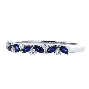 14K White Gold Marquise Sapphire and Diamond Wedding Band