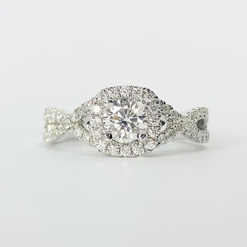 14K White Gold Cushion Twist Diamond Engagement Ring