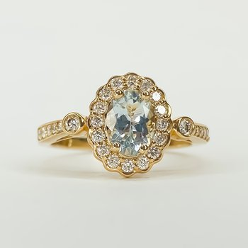 14K Rose Gold Aqua Oval Diamond Floral Vintage Halo Ring Size 7