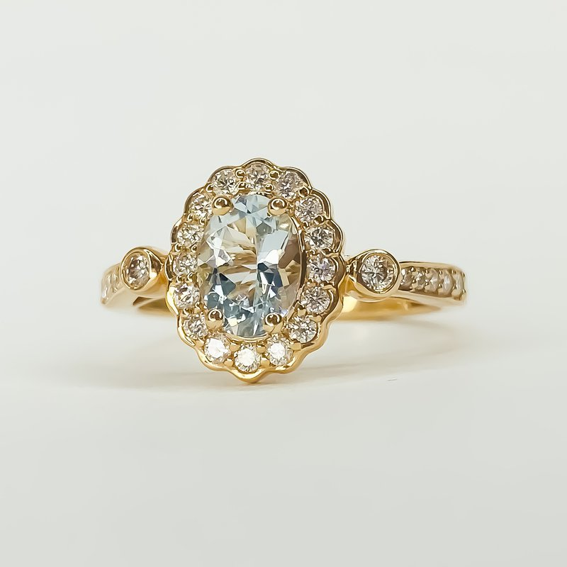 Iroff and Son Jewelers  14K Rose Gold Aqua Oval Diamond Floral Vintage Halo Ring Size 7