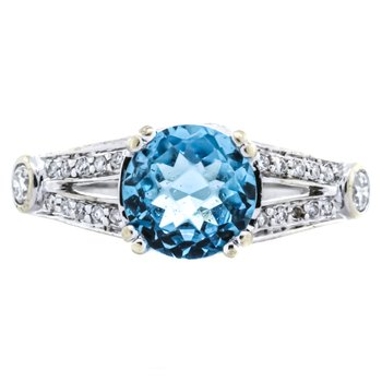 18K White Gold Blue Topaz Split Shank Diamond Ring