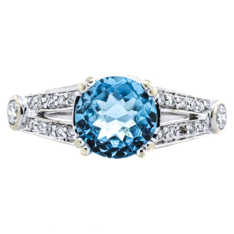 Estate Jewelry 18K White Gold Blue Topaz Split Shank Diamond Ring