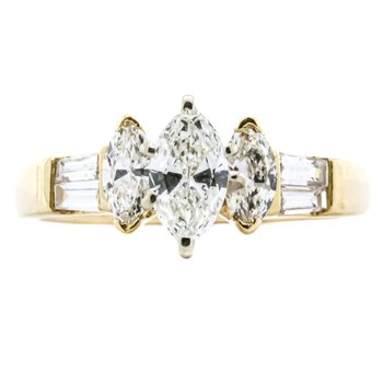 14K Gold Three Stone Marquise and Baguette Diamond Engagement Ring