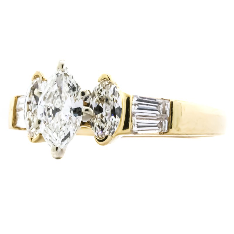 Estate Jewelry 14K Gold Three Stone Marquise and Baguette Diamond Engagement Ring
