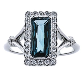 14K White Gold Long Rectangular London Blue Topaz and Diamond Halo Ring SZ 7