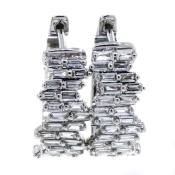 14K White Gold Staggered Baguettes Diamond Hoop Earrings