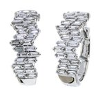Iroff and Son Jewelers  14K White Gold Staggered Baguettes Diamond Hoop Earrings