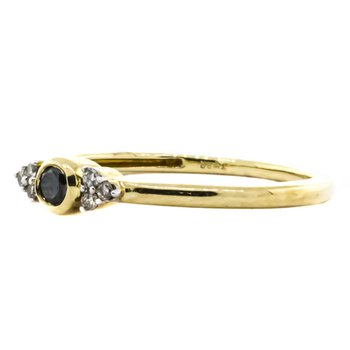 10K Gold Bezel Black Diamond and White Diamond Accent Ring