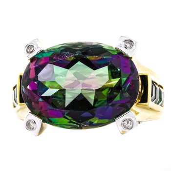 18K Gold Princess Oval Mystic Topaz Diamond Statement Ring