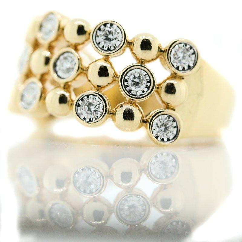 Iroff and Son Jewelers  14K Yellow Gold Triple Row Bezel Set Diamond Fashion Band SZ 7