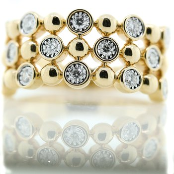 14K Yellow Gold Triple Row Bezel Set Diamond Fashion Band SZ 7