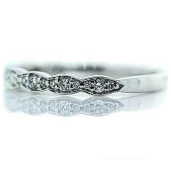 14K White Gold Pinched Marquise Round Diamond Wedding Band SZ 6.5