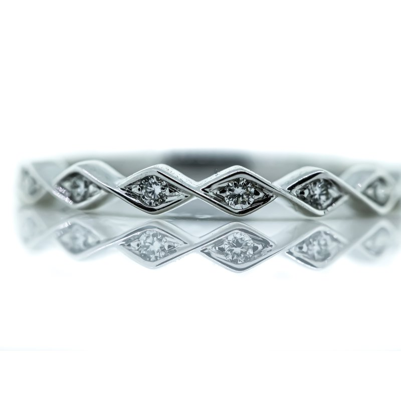 Iroff and Son Jewelers  14K White Gold Round Diamonds Marquise Shape Wedding Band SZ 6.5