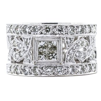 18K White Gold Princess Diamond Deco Filigree Wide Band