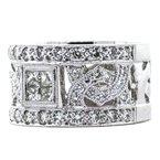 Estate Jewelry 18K White Gold Princess Diamond Deco Filigree Wide Band
