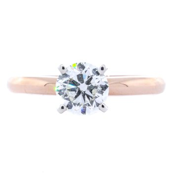14K Rose Gold GSI Solitaire Diamond 1.01CTW Engagement Ring SZ 6.75