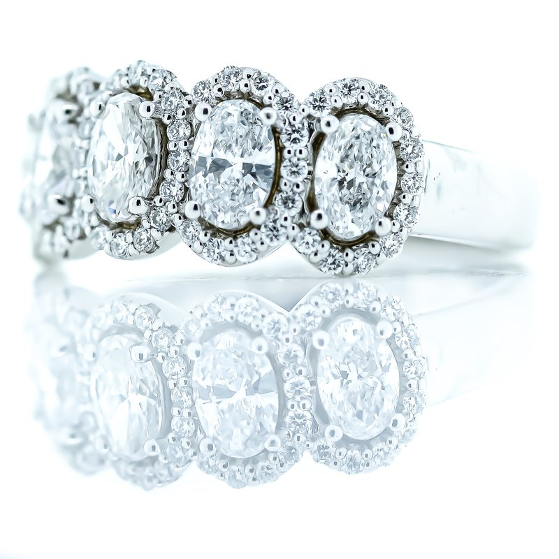 Iroff and Son Jewelers  14K White Gold 5 Oval Diamond Halos 1.40CTW Anniversary Band SZ 7