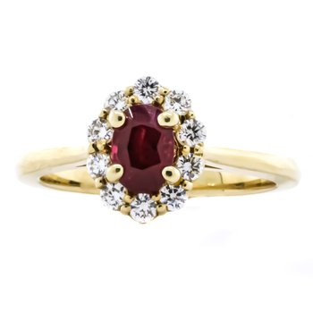 14K Yellow Gold Oval Ruby Diamond Floral Halo Ring SZ 6.5