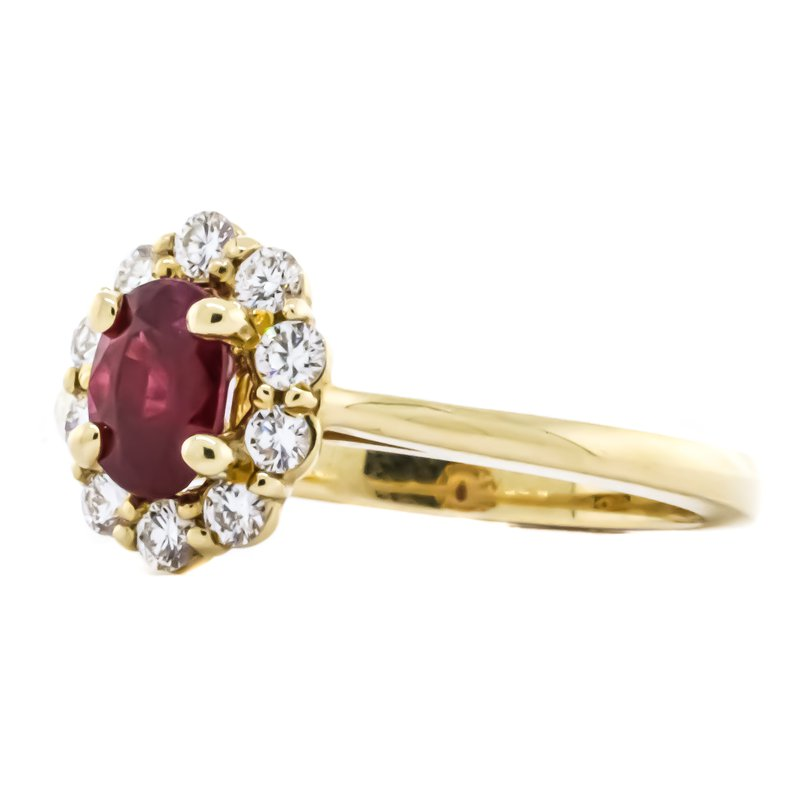 Iroff and Son Jewelers  14K Yellow Gold Oval Ruby Diamond Floral Halo Ring SZ 6.5