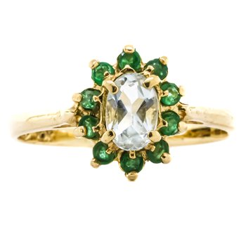 10K Gold Aquamarine and Emerald Starburst Halo Ring