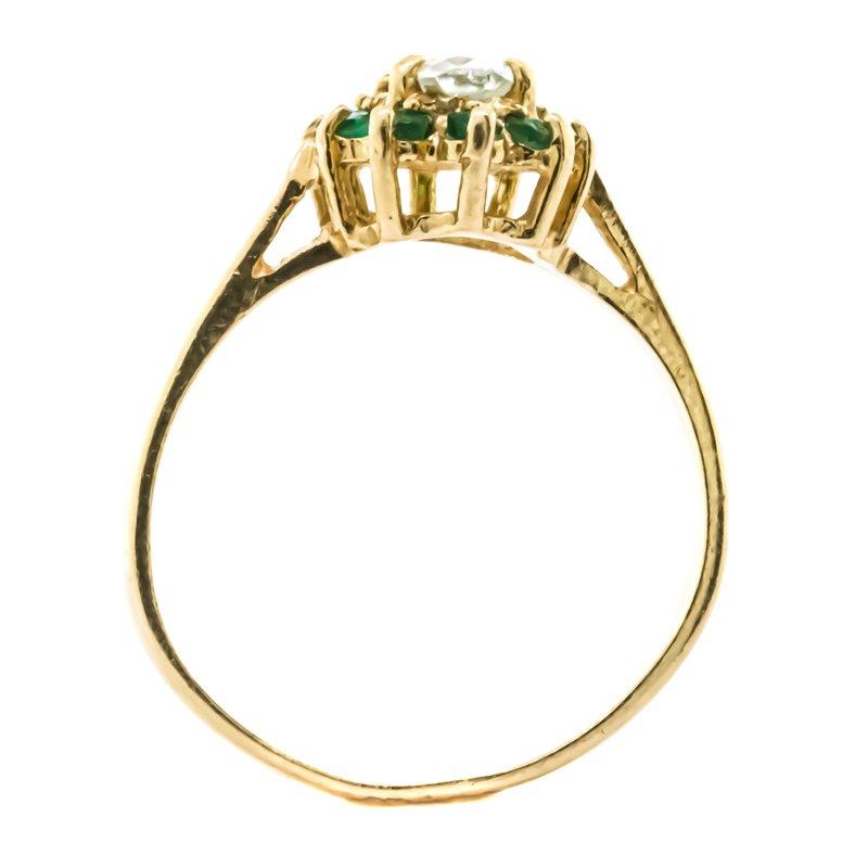 Estate Jewelry 10K Gold Aquamarine and Emerald Starburst Halo Ring