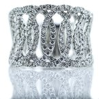 Iroff and Son Jewelers  18K White Gold Tapered Open Weave Diamond Band SZ 6.5