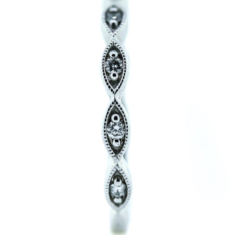 Iroff and Son Jewelers  14K White Gold Marquise Milgrain Diamond Wedding Band SZ 6.25