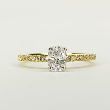 14K Gold Solitaire Oval GIA Diamond Engagement Ring Size 6.5
