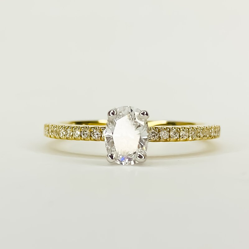 Iroff and Son Jewelers  14K Gold Solitaire Oval GIA Diamond Engagement Ring Size 6.5