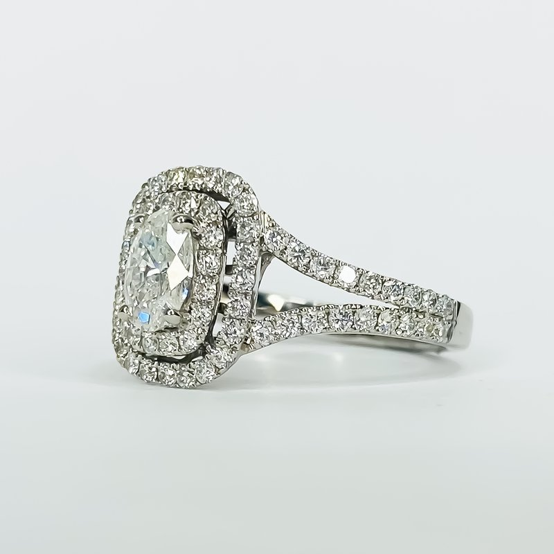 Iroff and Son Jewelers  18K White Gold Double Halo Split Shank Diamond Engagement Ring