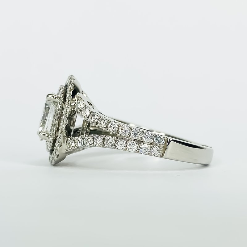 18K White Gold Double Halo Split Shank Diamond Engagement Ring