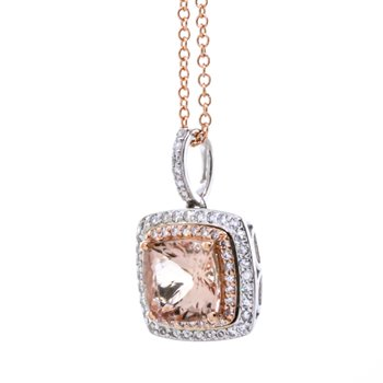 "14K Rose Gold Cushion Morganite Center Double Diamond Halo 18"" Necklace"