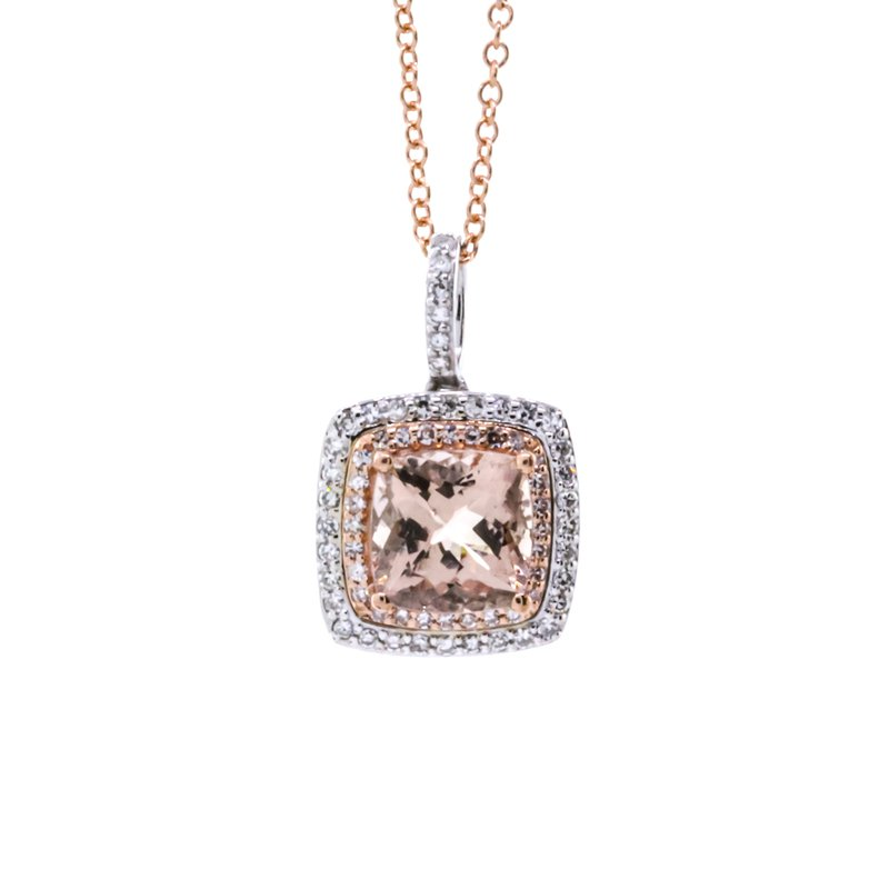 """Iroff and Son Jewelers  14K Rose Gold Cushion Morganite Center Double Diamond Halo 18"""" Necklace"""