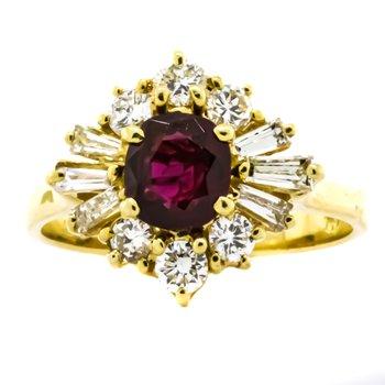 18K Gold Ruby Center Diamond Starburst Halo Vintage Ring