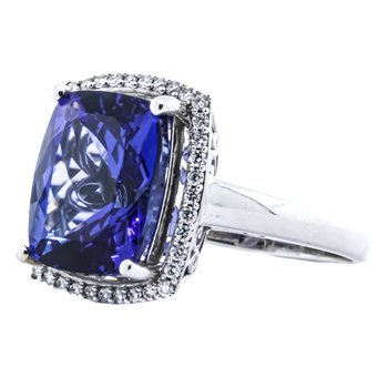 18K White Gold Cushion Tanzanite Diamond Halo Ring