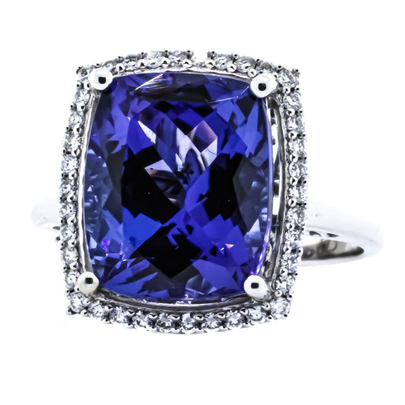 Iroff and Son Jewelers  18K White Gold Cushion Tanzanite Diamond Halo Ring